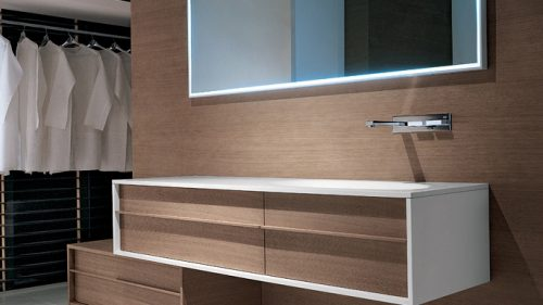mueble de baño de madera natural SHAPE BY FALPER